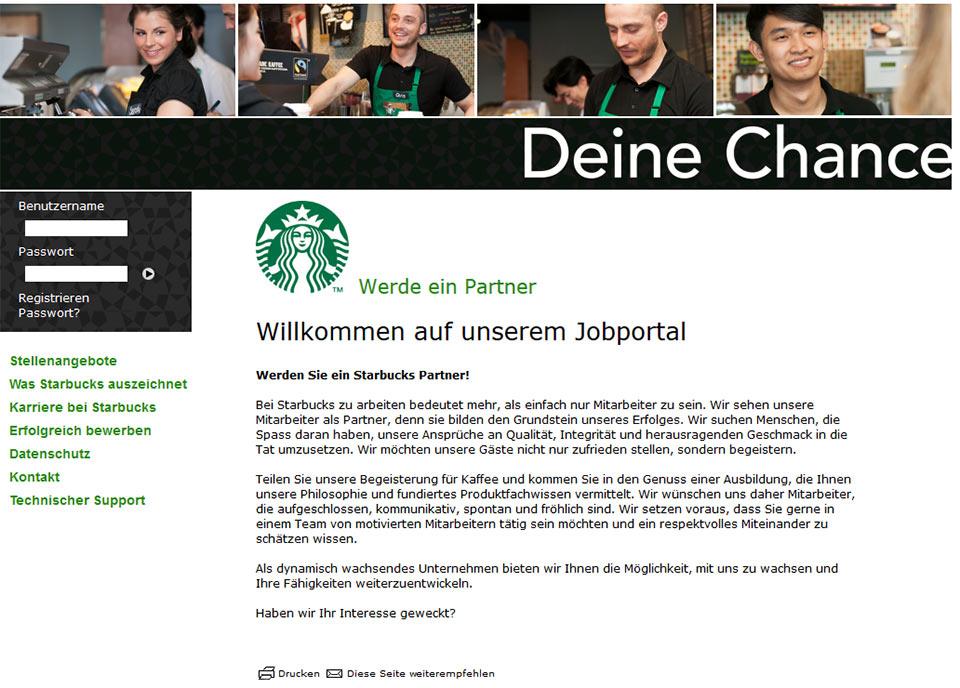 Starbucks Jobportal