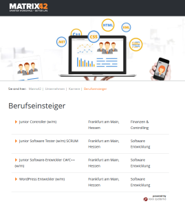Das Karriereportal von Matrix42 - powered by rexx systems