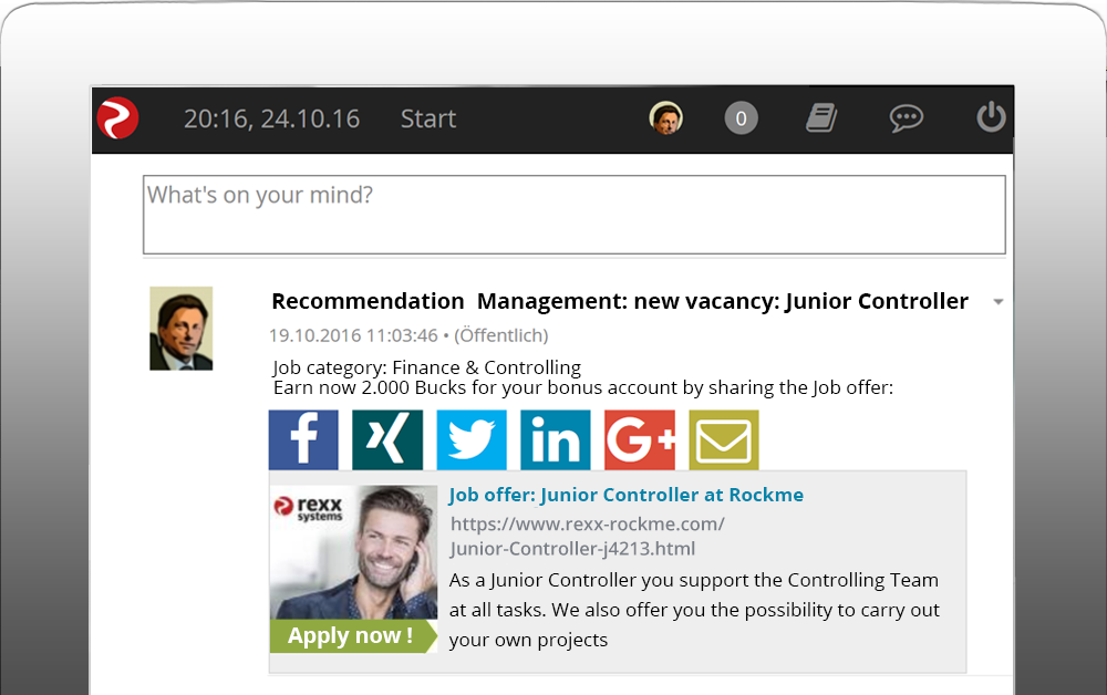 Recommendation via employee portal