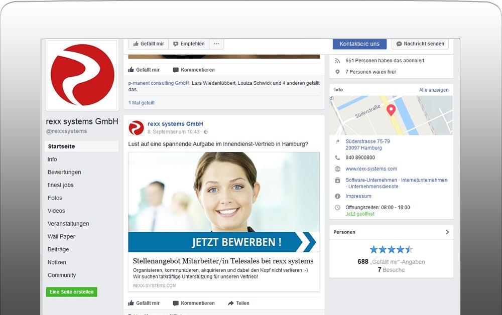 Jobempfehlung auf facebook