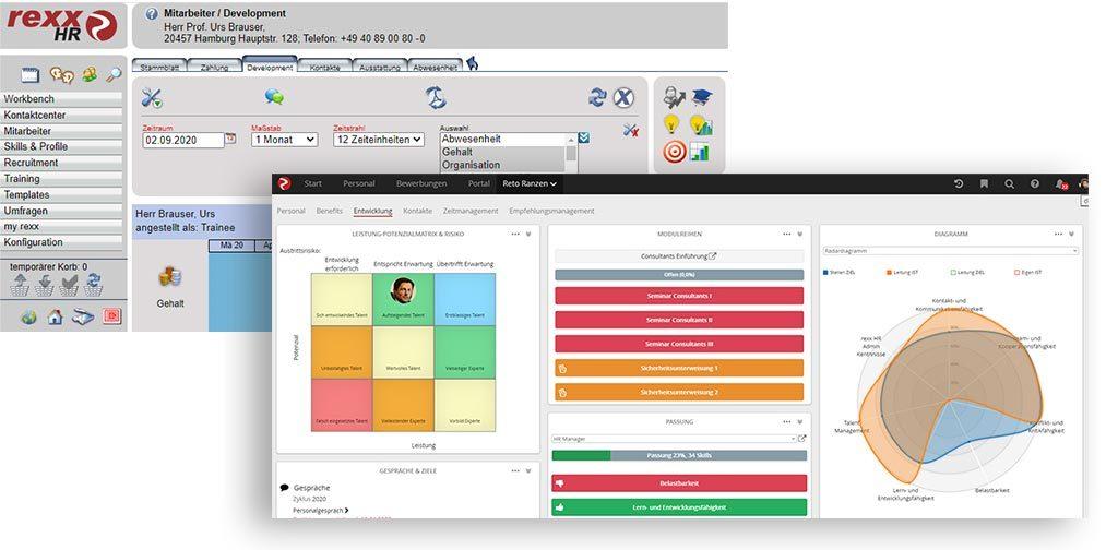 Evolution: Historischer Screen der HR-Anwendung, im Vergleich die aktuelle Version